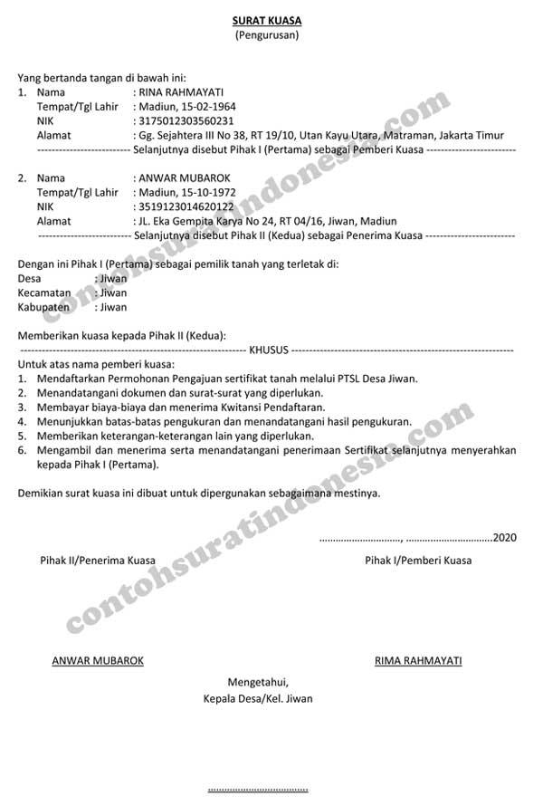 Contoh Surat Kuasa Pengurusan Sertifikat PTSL